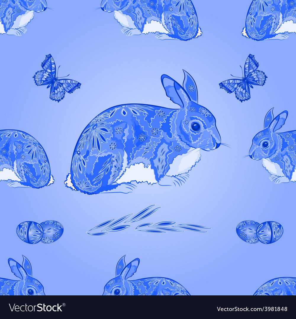Seamless texture easter blue bunny with butterfly vector | Price: 1 Credit (USD $1)