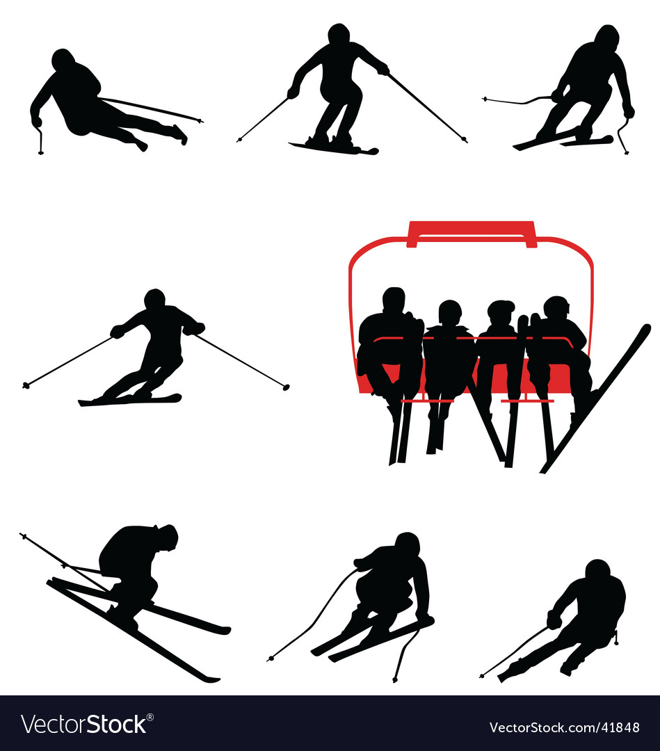 Ski silhouettes vector | Price:  Credit (USD $)