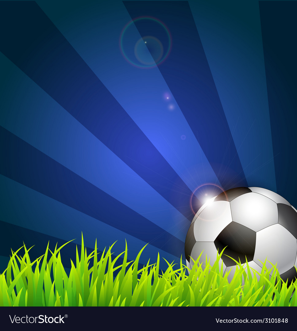 Soccer ball on grass background vector | Price: 1 Credit (USD $1)