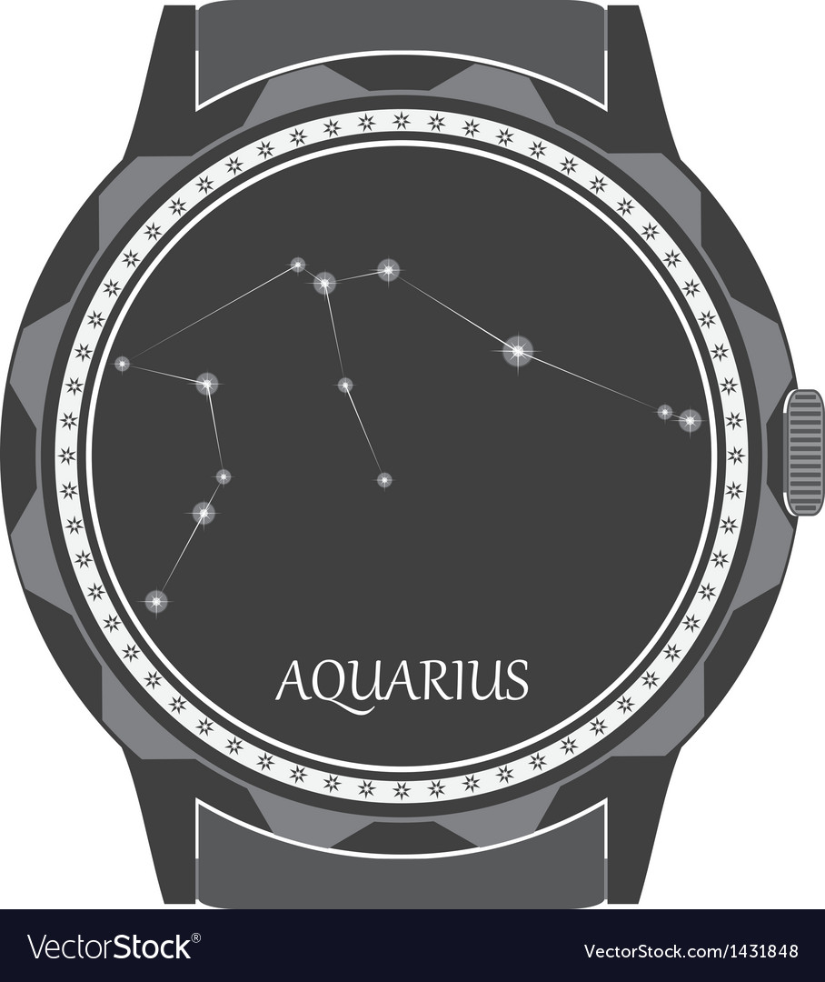 The watch dial with the zodiac sign aquarius vector | Price: 1 Credit (USD $1)