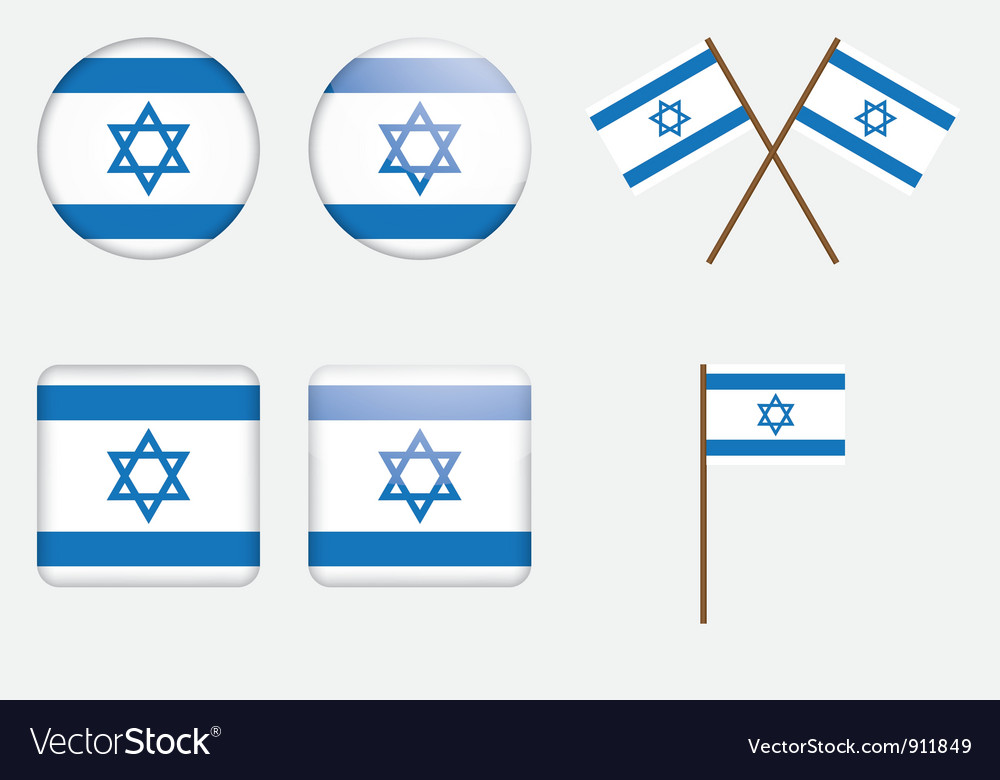 Badges with flag of israel vector | Price: 1 Credit (USD $1)