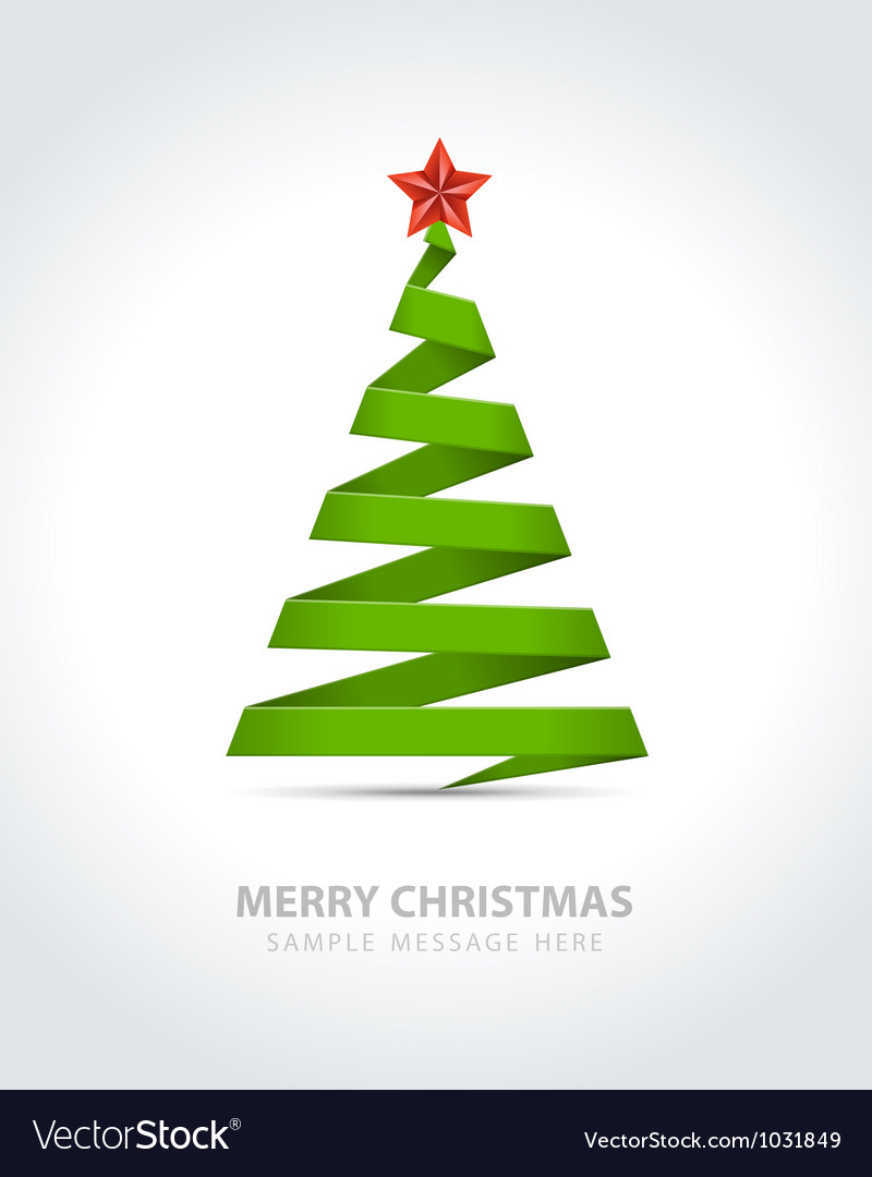 Christmas tree from paper ribbon vector | Price: 1 Credit (USD $1)