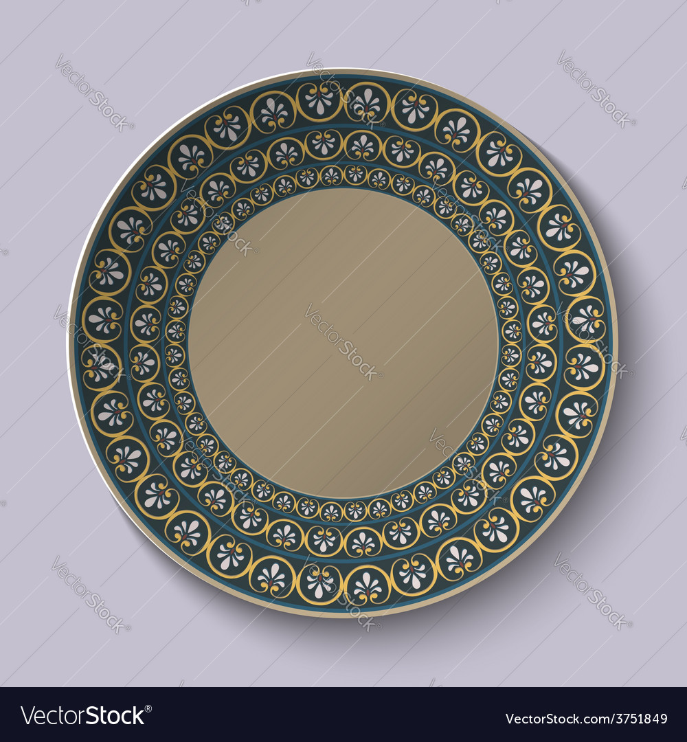 Dish with ornament stylized the ancient roman vector | Price: 1 Credit (USD $1)
