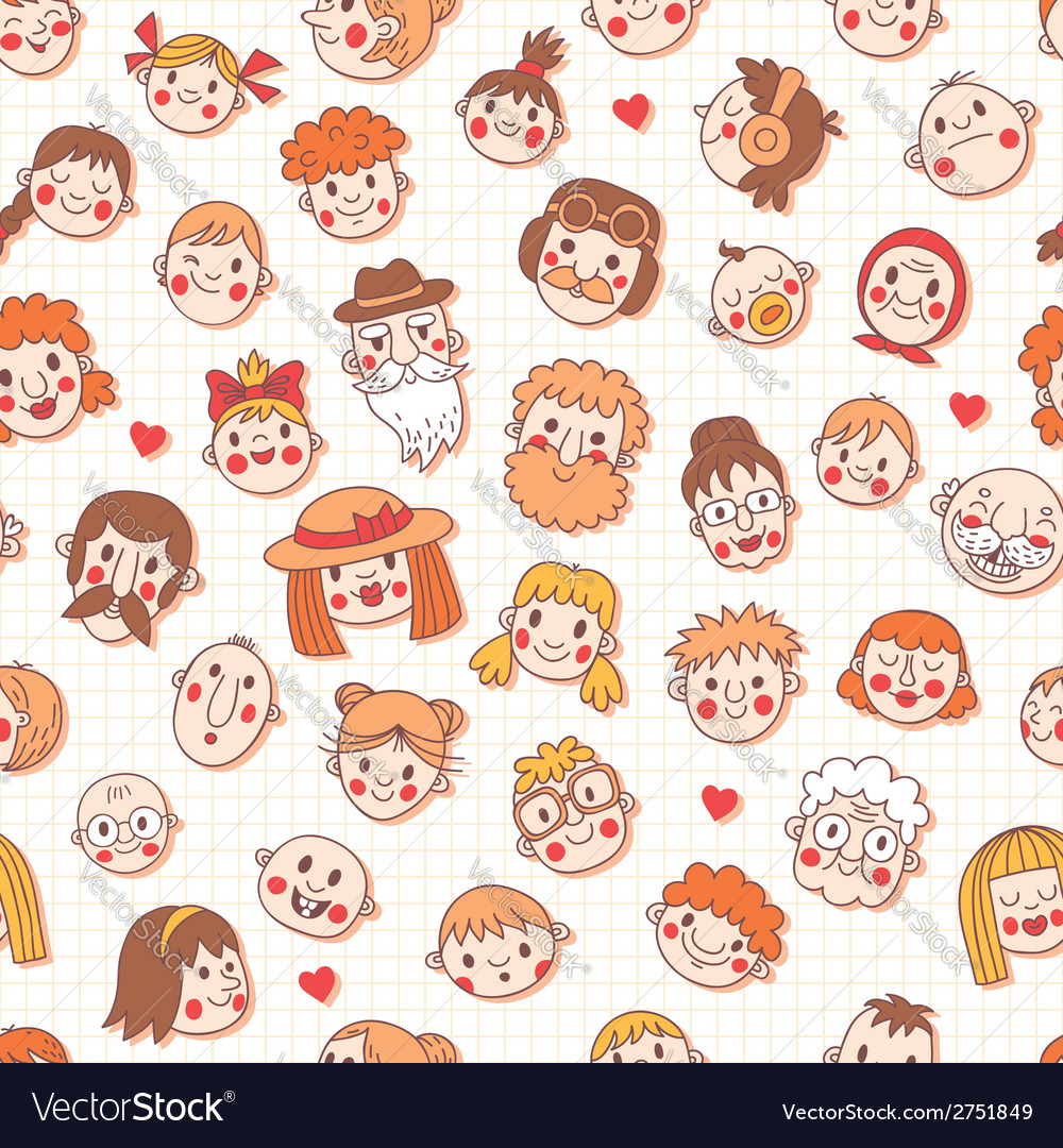 Funny cartoon faces seamless pattern vector | Price: 1 Credit (USD $1)