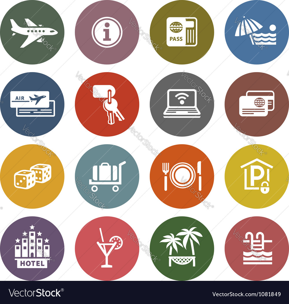 Recreation travel  vacation icons set vector | Price: 1 Credit (USD $1)