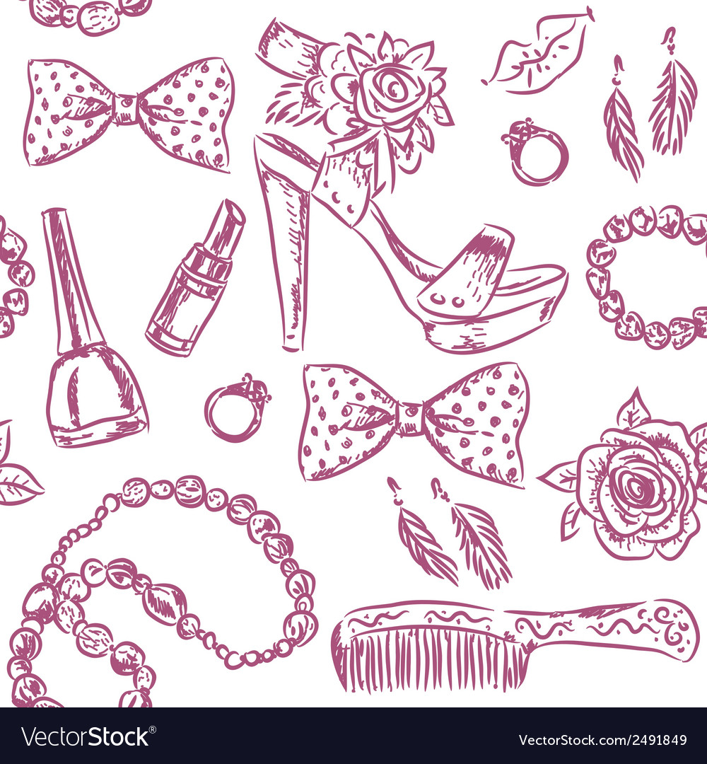 Seamless pattern girls accessories vector | Price: 1 Credit (USD $1)