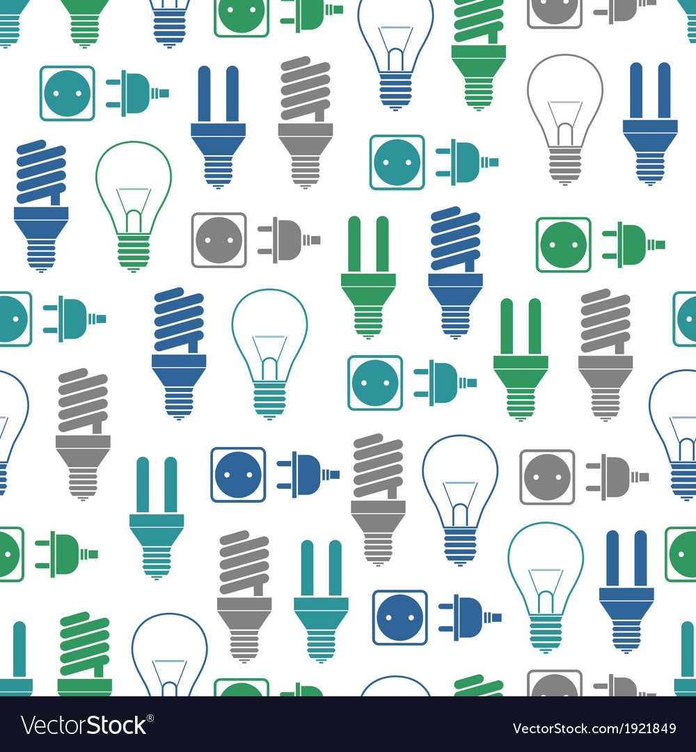 Seamless pattern with bulbs and socket vector | Price: 1 Credit (USD $1)