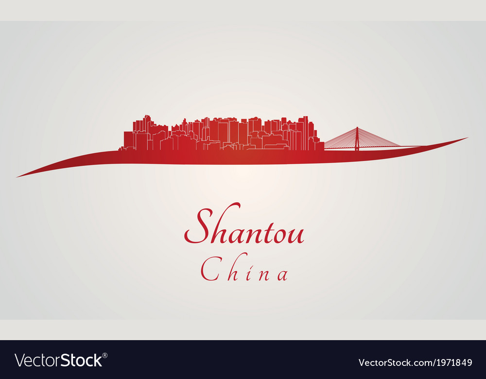 Shantou skyline in red vector | Price: 1 Credit (USD $1)