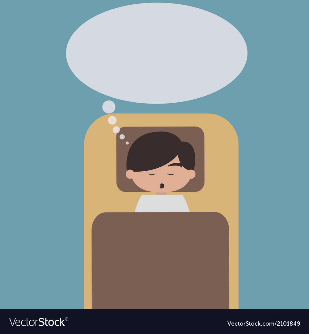 Sleeping man with speech bubble vector | Price: 1 Credit (USD $1)