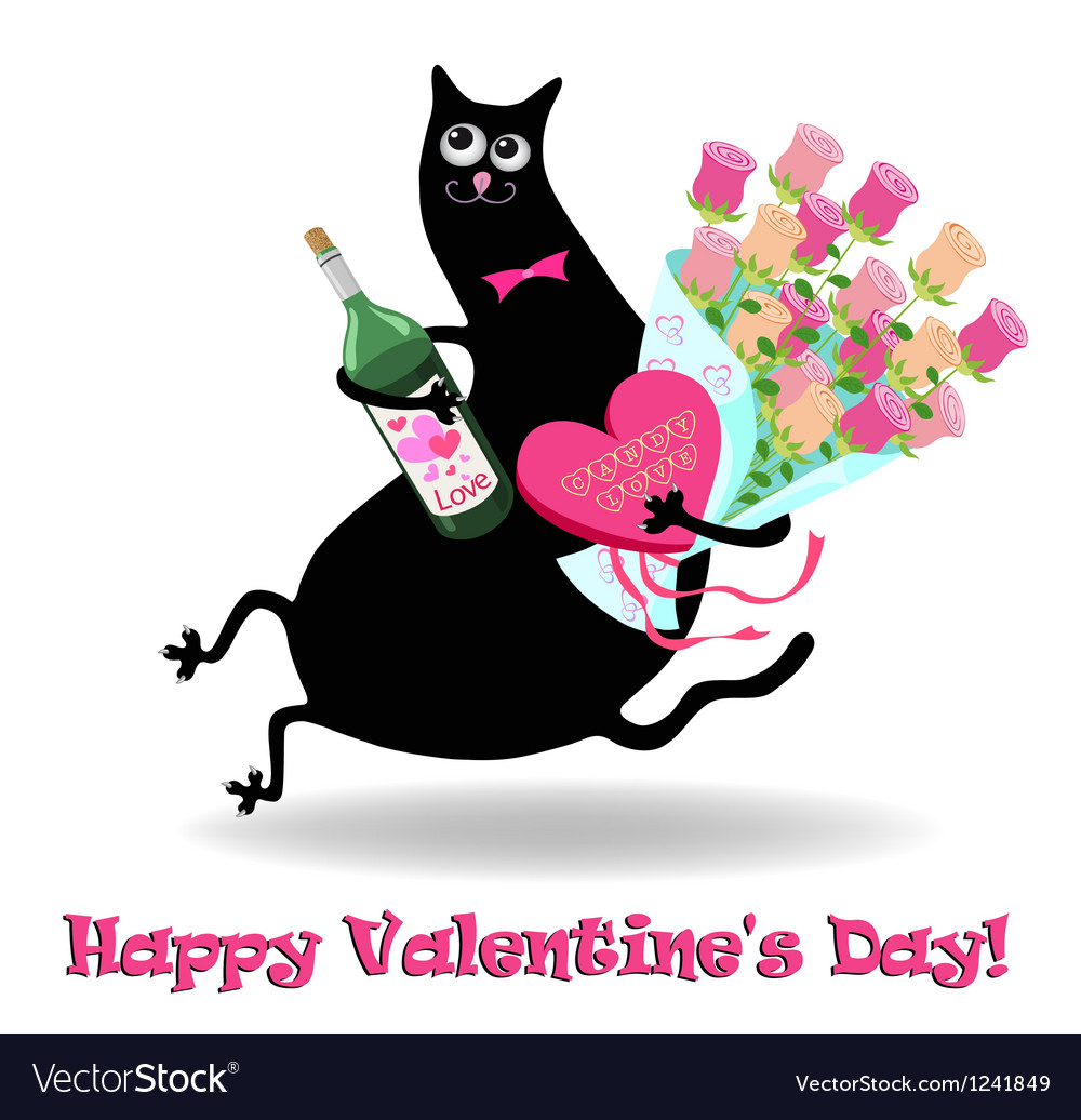 Valentines day card with cat vector   Price: 1 Credit (USD $1)