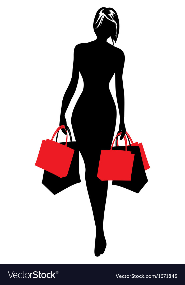 Woman silhouette shopping vector | Price: 1 Credit (USD $1)