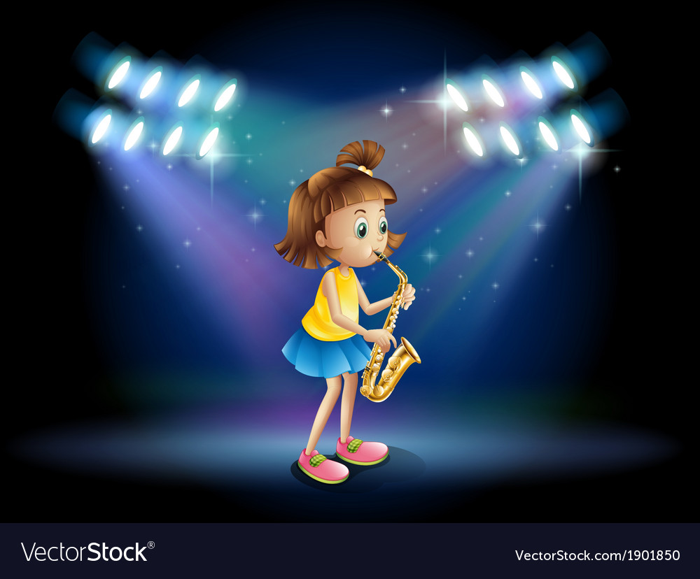 A young lady at the stage playing with her vector | Price: 3 Credit (USD $3)