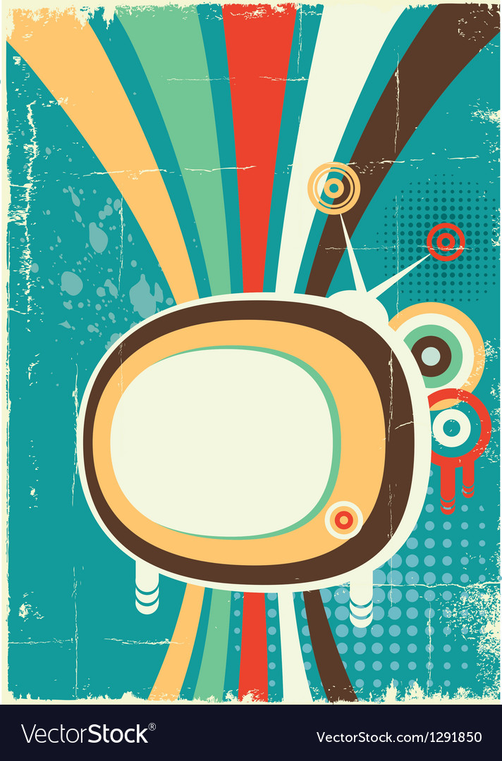 Abstract retro television poster on old background vector | Price: 1 Credit (USD $1)