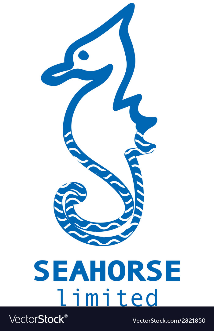 Blue and white seahorse business logo vector | Price: 1 Credit (USD $1)