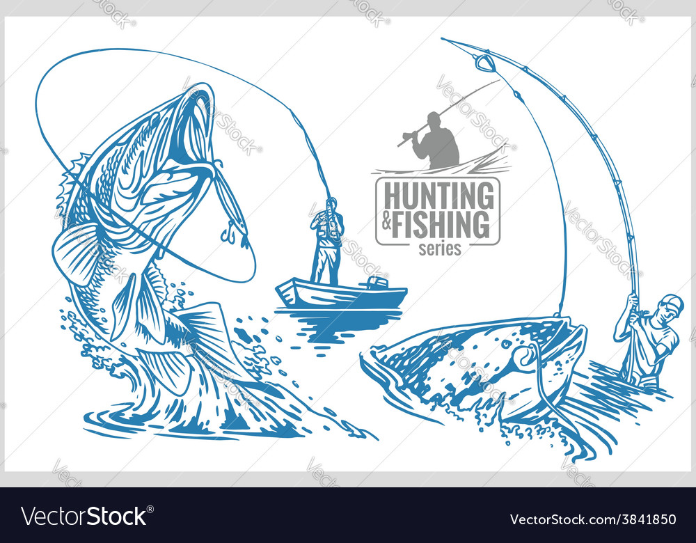 Fisherman and fish - vintage vector | Price: 3 Credit (USD $3)