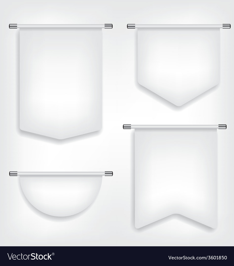 Flag white banner different shapes vector | Price: 1 Credit (USD $1)