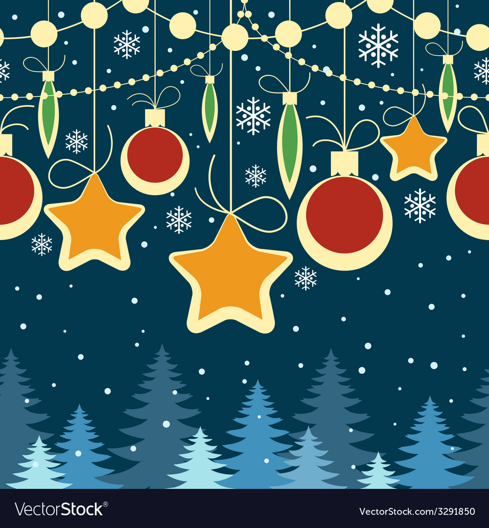 Horizontal christmas seamless retro pattern vector | Price: 1 Credit (USD $1)