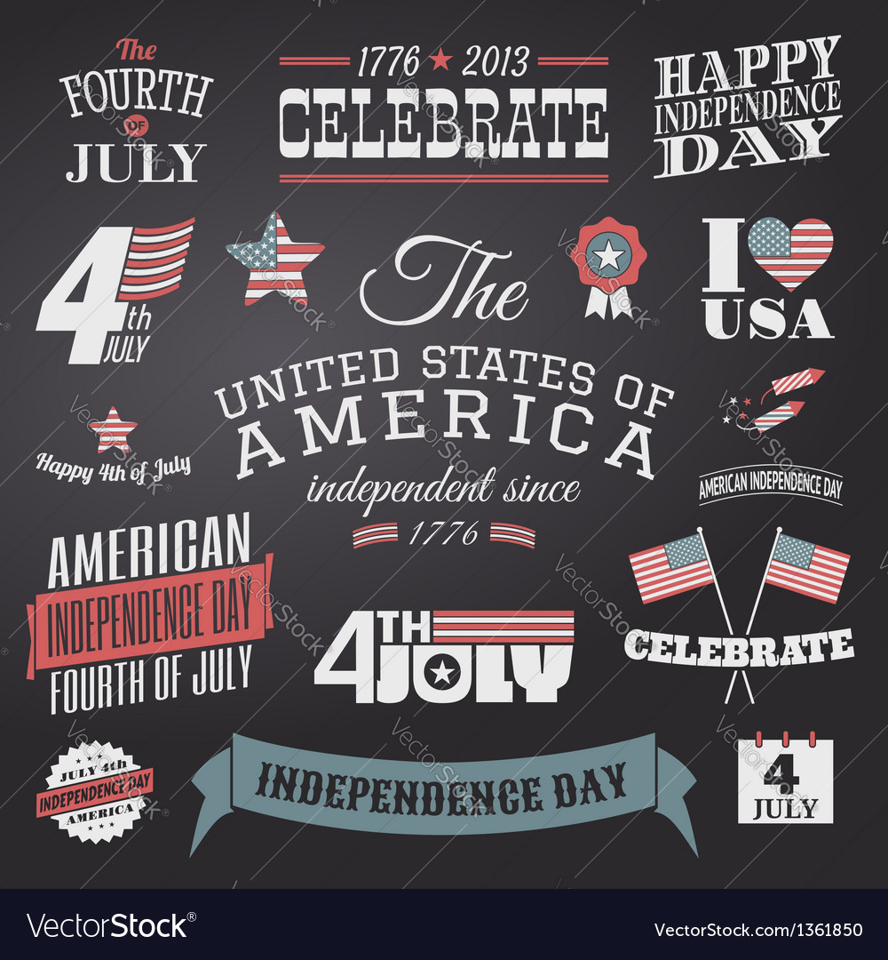 Independence day design elements set vector | Price: 3 Credit (USD $3)