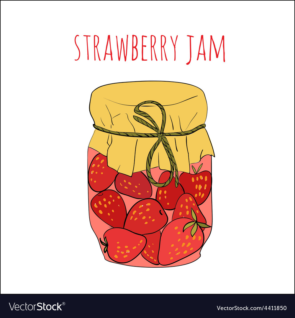 Jar of strawberry jam isolated on white vector | Price: 1 Credit (USD $1)