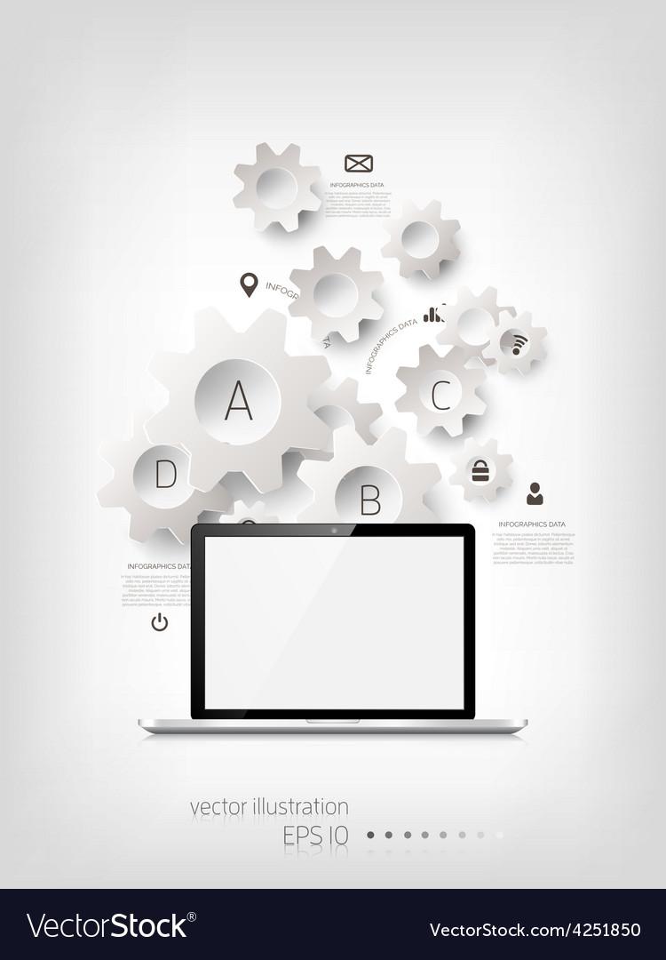 Realistic detalized flat laptop vector   Price: 1 Credit (USD $1)
