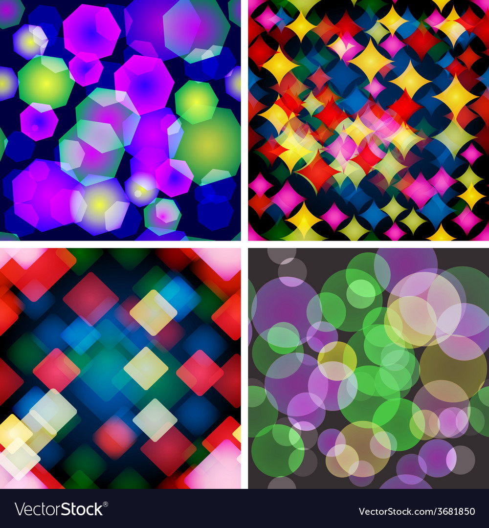 Set of 4 seamless patterns with boke effect vector | Price: 1 Credit (USD $1)