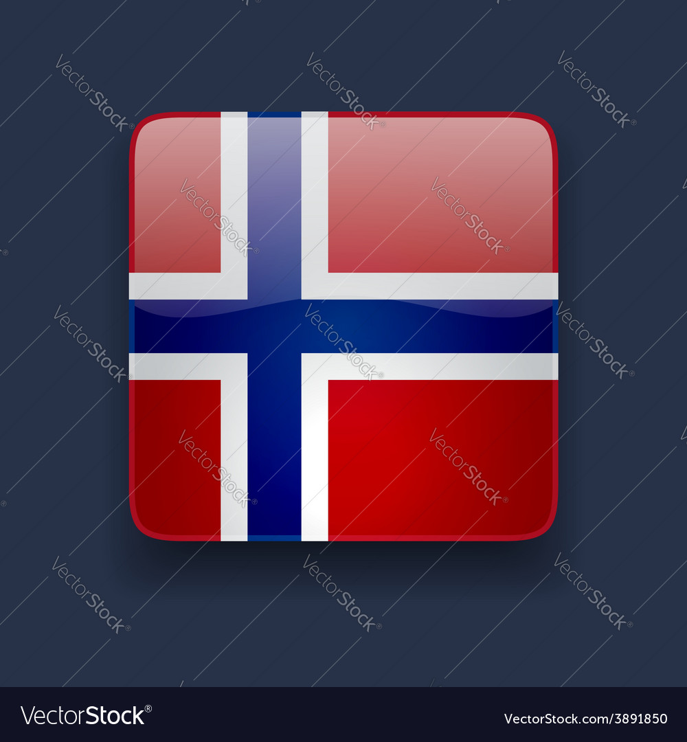Square icon with flag of norway vector | Price: 1 Credit (USD $1)