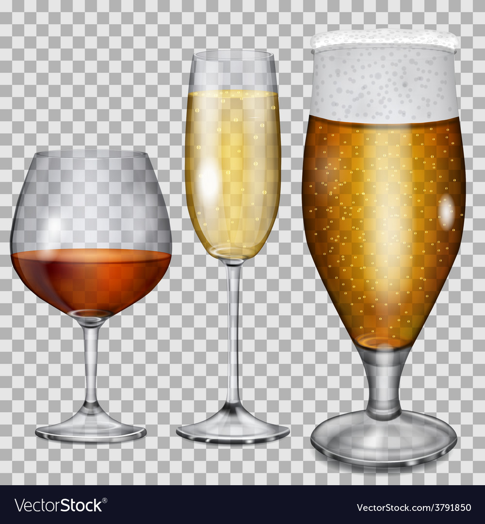 Transparent glass goblets with beverages vector | Price: 1 Credit (USD $1)