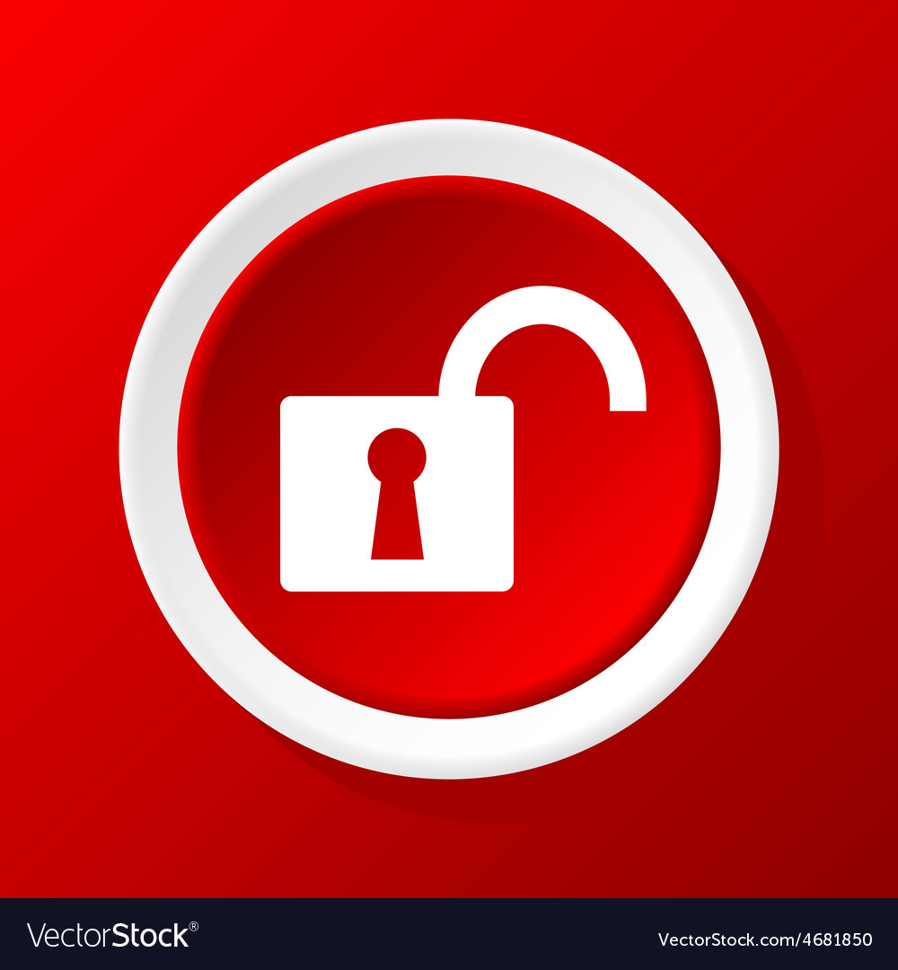 Unlocked icon on red vector | Price: 1 Credit (USD $1)