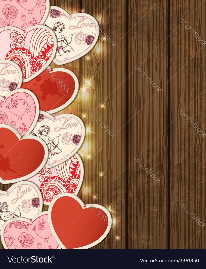 Wooden hearts2 vector