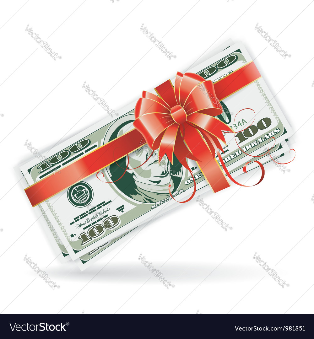 Dollar bills with ribbon and bow vector | Price: 1 Credit (USD $1)