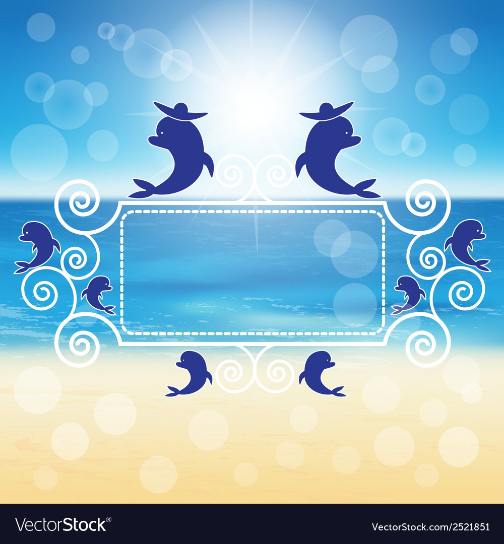 Dolphins around the frame vector | Price: 1 Credit (USD $1)
