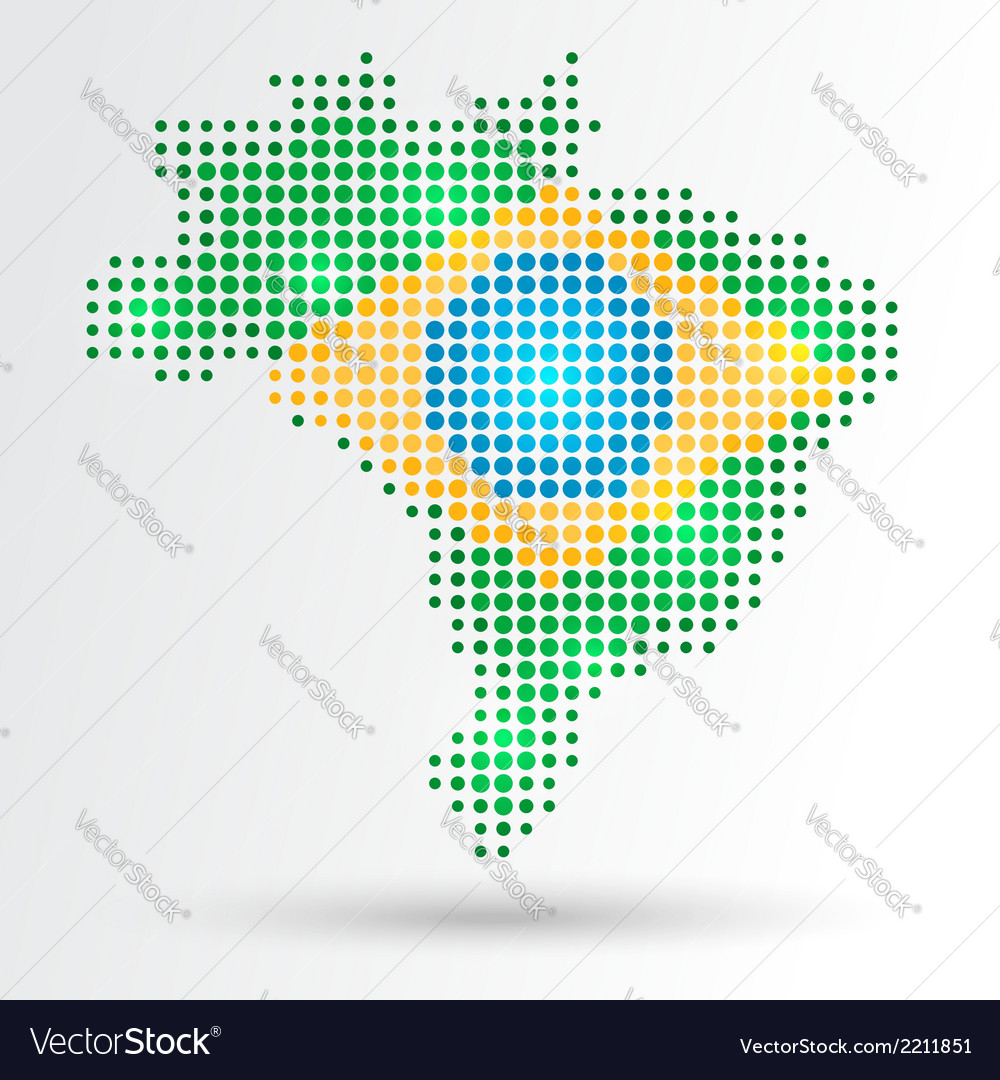 Dotted brazil map vector | Price: 1 Credit (USD $1)