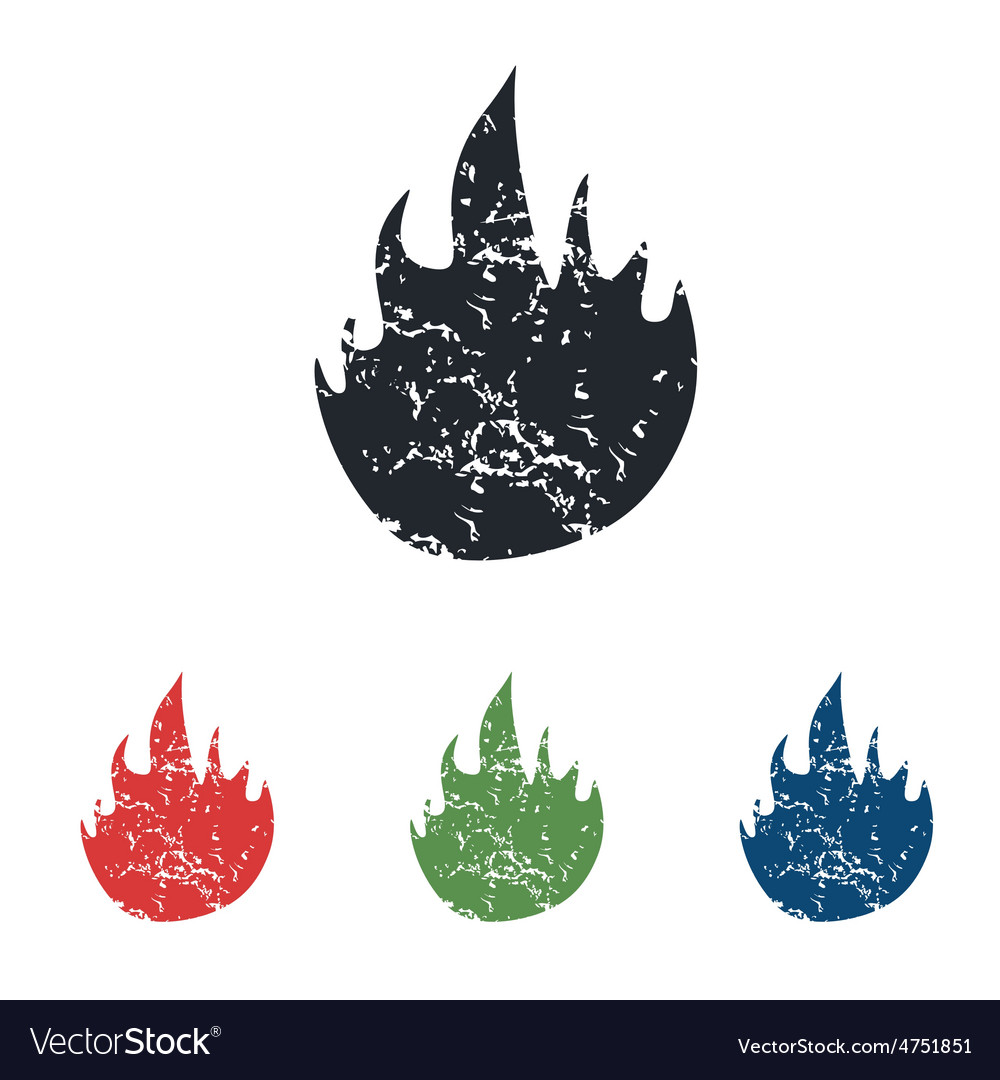 Fire grunge icon set vector | Price: 1 Credit (USD $1)