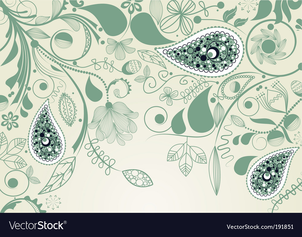 Floral frame with paisley vector | Price: 1 Credit (USD $1)