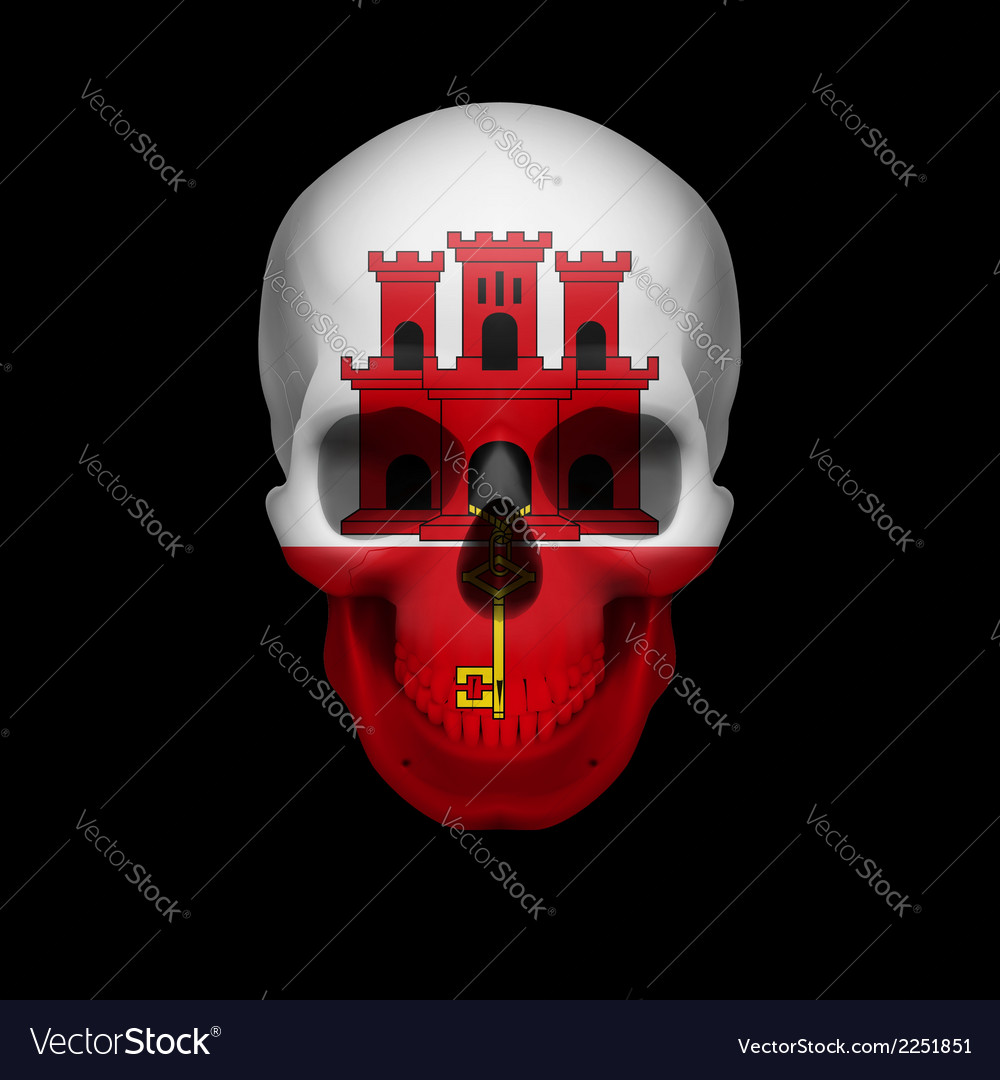 Gibraltar flag skull vector | Price: 1 Credit (USD $1)
