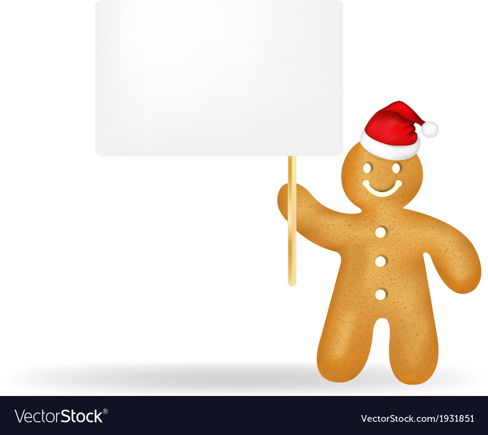 Gingerbread man with blank gift tag and santa hat vector | Price: 1 Credit (USD $1)