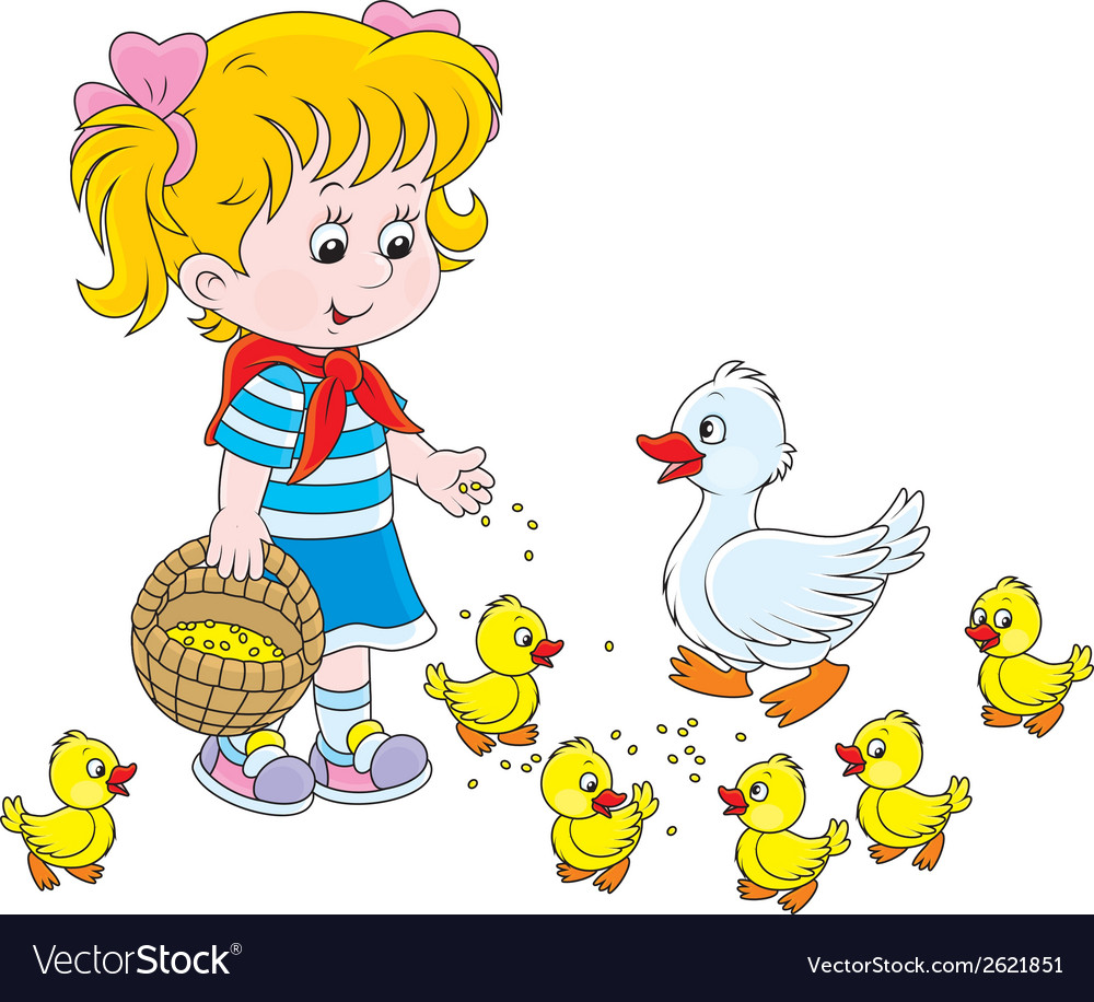 Girl feeding ducklings vector | Price: 1 Credit (USD $1)