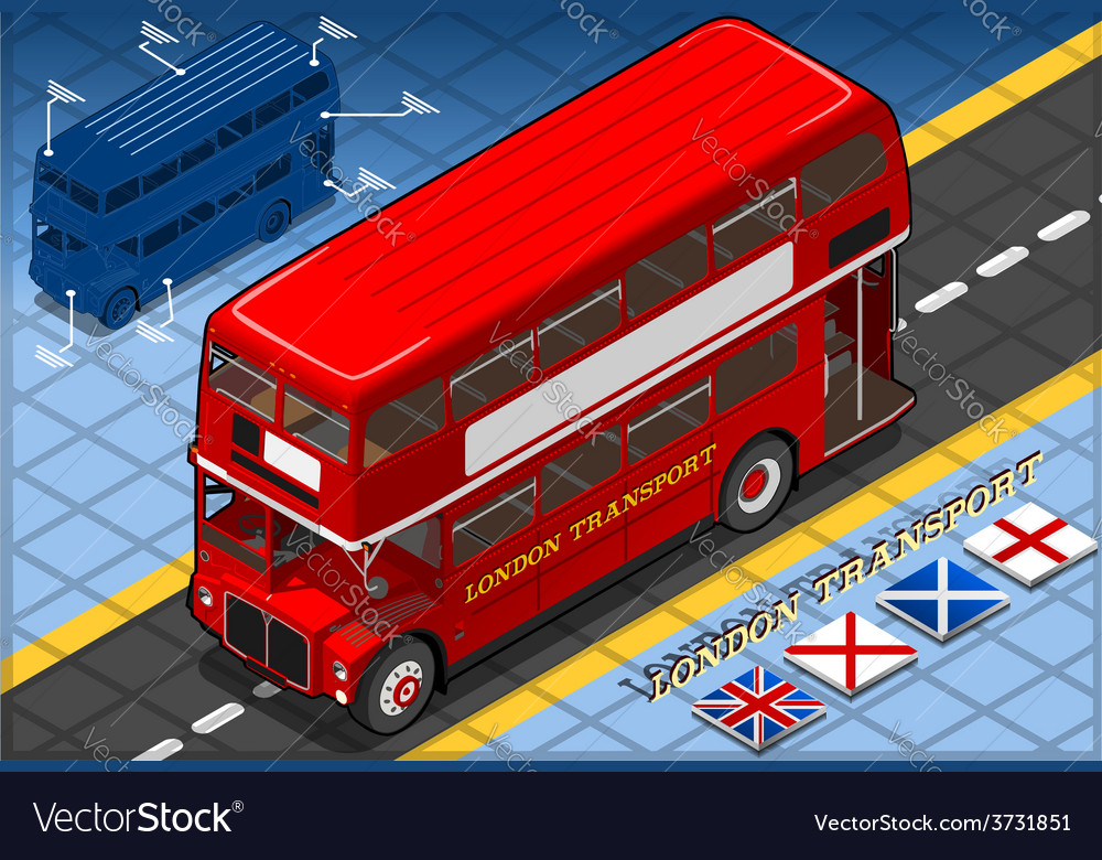 Isometric double decker bus in front view vector | Price: 3 Credit (USD $3)