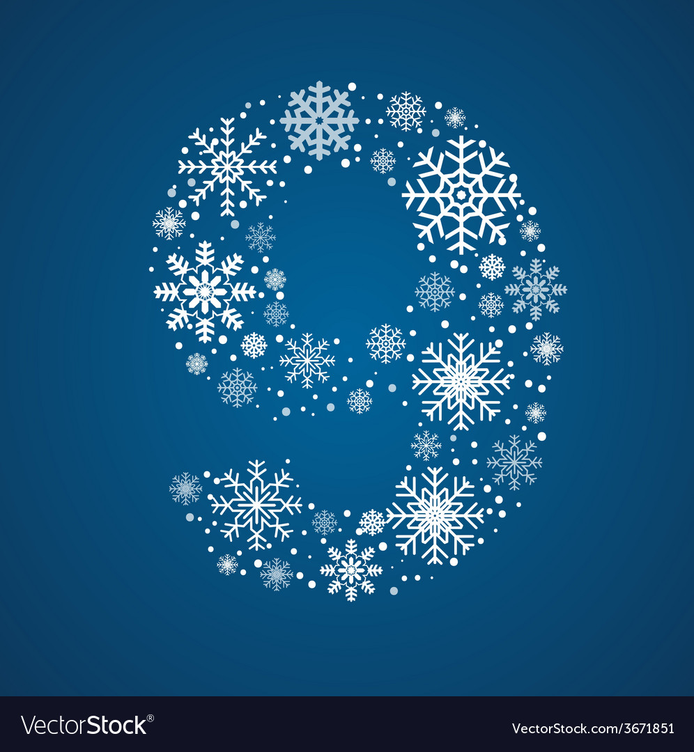 Number 9 font frosty snowflakes vector | Price: 1 Credit (USD $1)