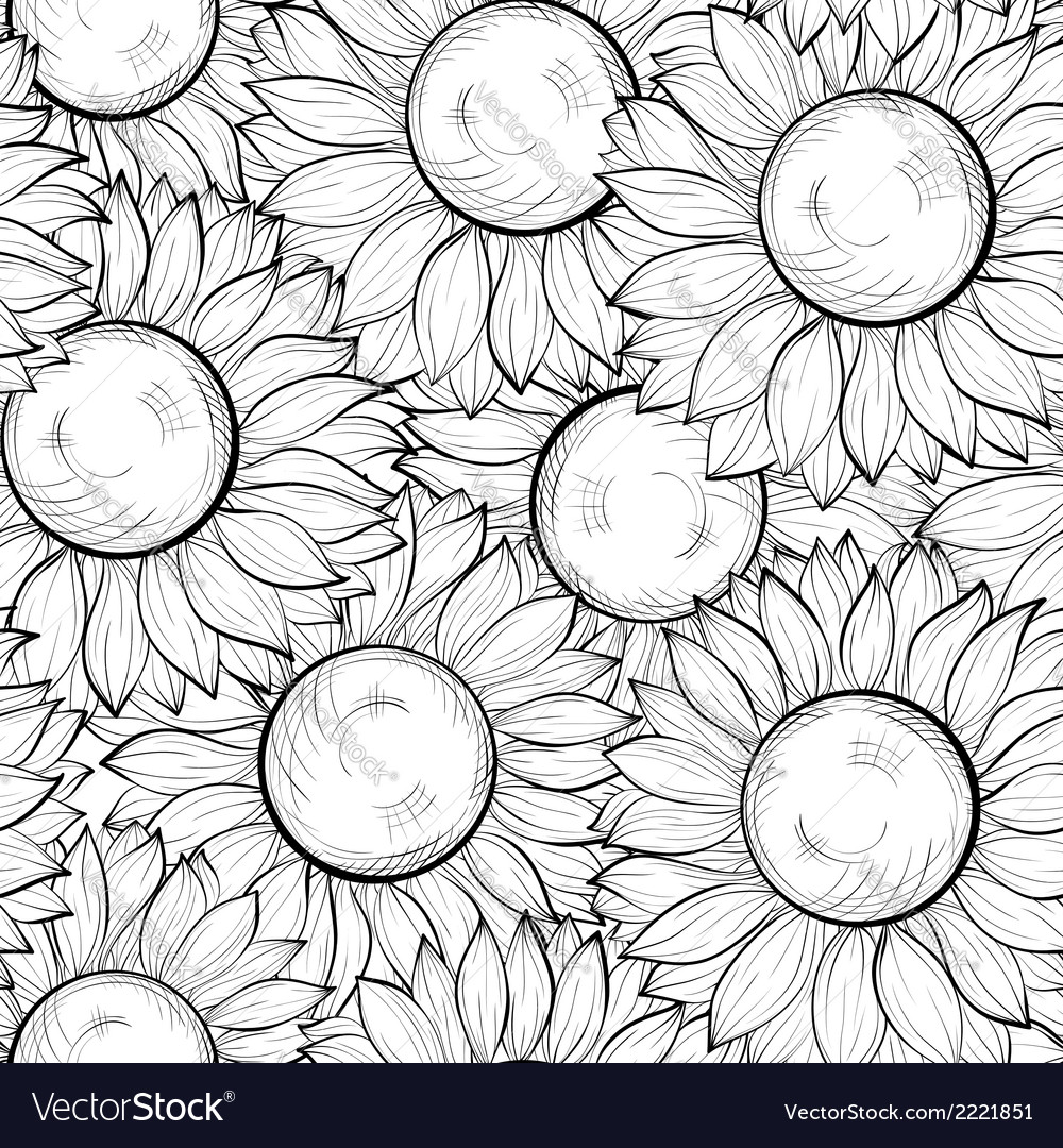 Seamless background with sunflowers vector | Price: 1 Credit (USD $1)