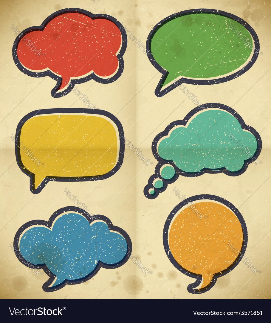 Vintage speech bubbles on the cardboard vector | Price: 1 Credit (USD $1)