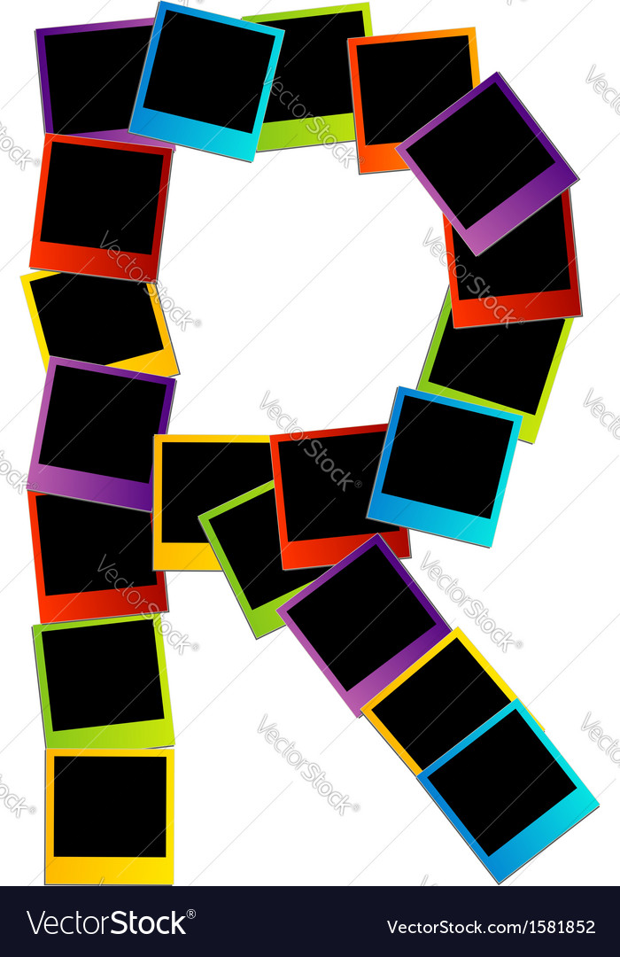 Alphabet r with colorful polaroids vector | Price: 1 Credit (USD $1)