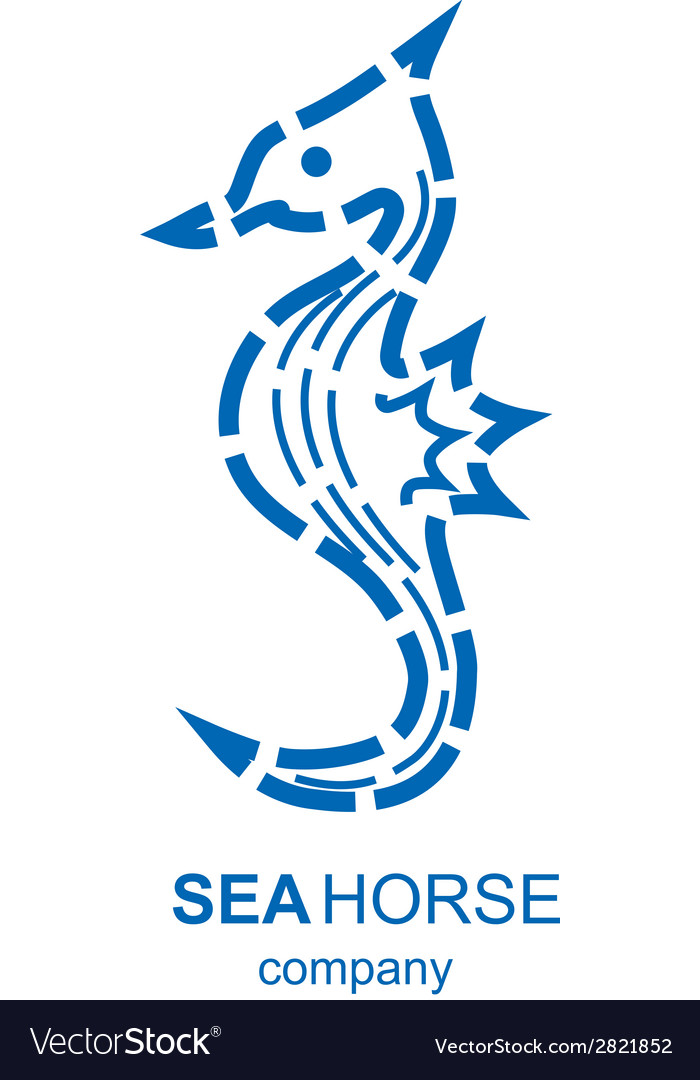 Blue and white seahorse business logo vector