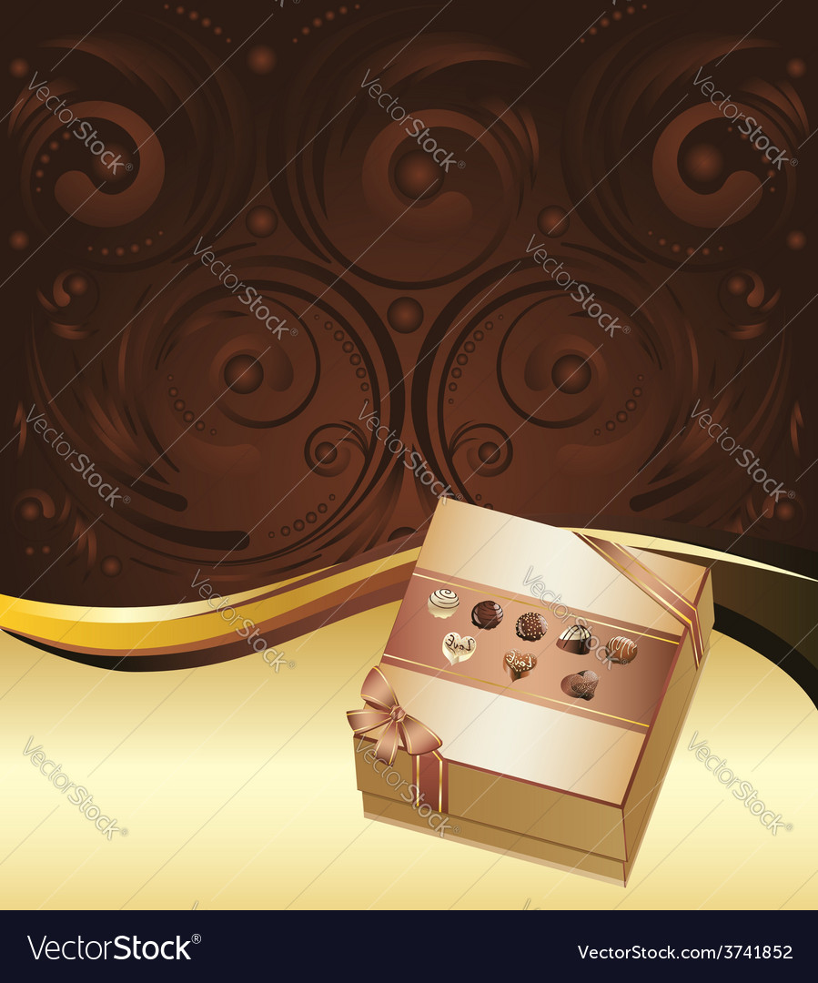 Brown background with chocolate box3 vector | Price: 1 Credit (USD $1)