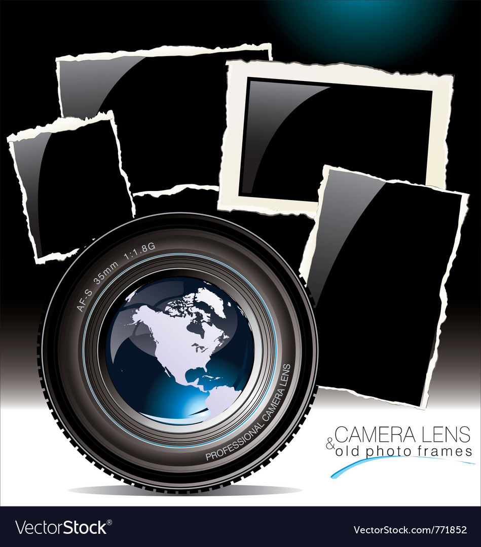 Camera lens with old photo frames vector | Price: 1 Credit (USD $1)