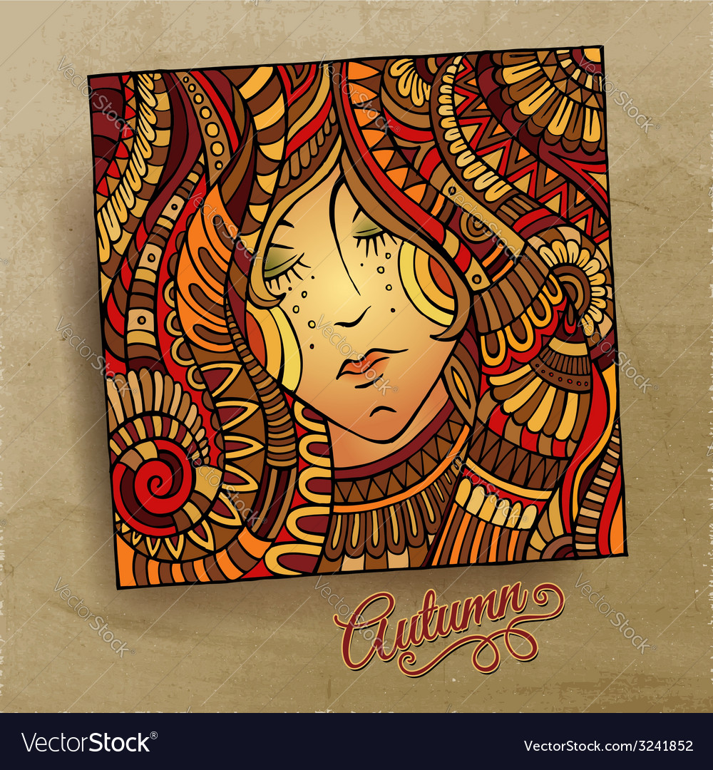 Decorative autumn beautiful girl portrait vector | Price: 1 Credit (USD $1)