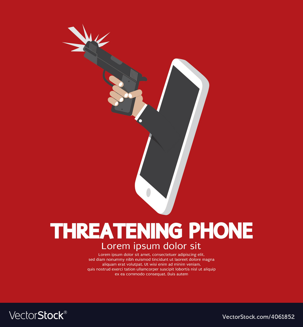 Hand with gun threatening phone concept vector | Price: 1 Credit (USD $1)