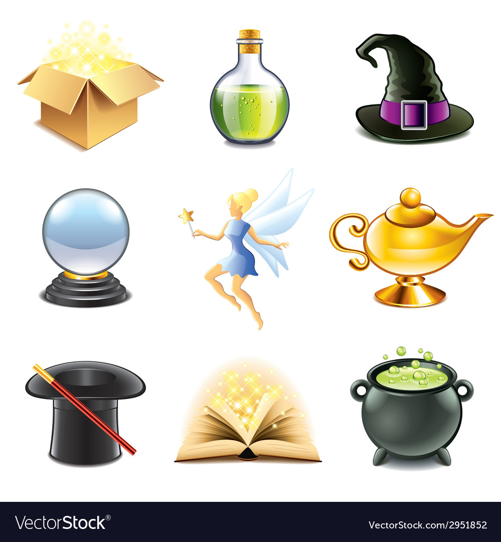 Magic and sorcery icons vector | Price: 3 Credit (USD $3)