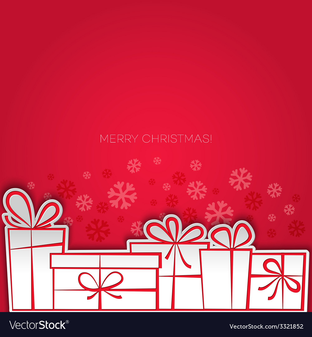 Merry christmas gift greeting card paper design vector | Price: 1 Credit (USD $1)
