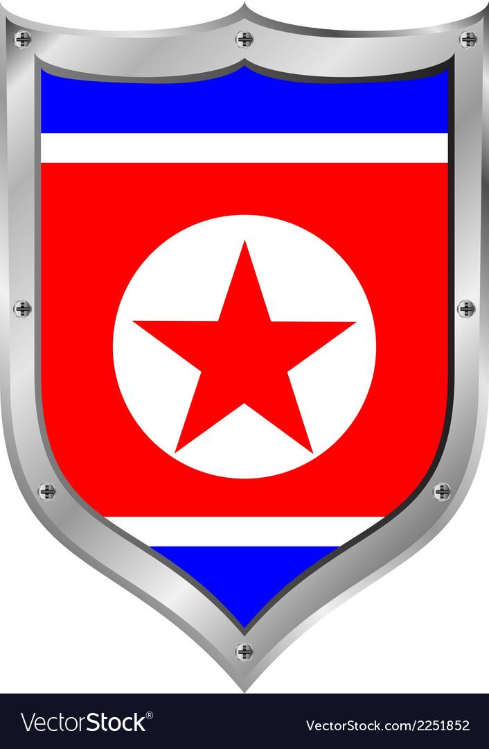 North korea flag button vector | Price: 1 Credit (USD $1)